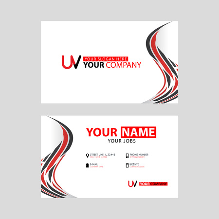 The new simple business card is red black with the UV logo Letter bonus and horizontal modern clean template vector design.