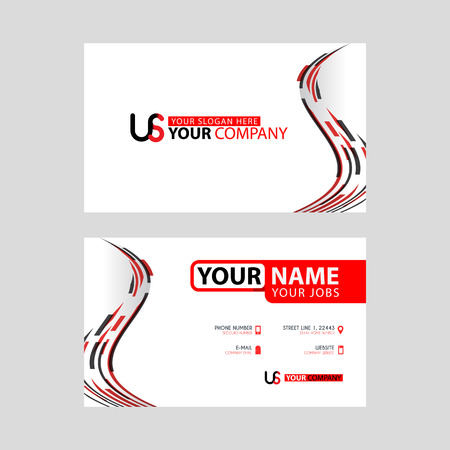 The new simple business card is red black with the US logo Letter bonus and horizontal modern clean template vector design.