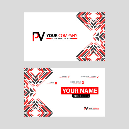 Modern business card templates, with PV logo Letter and horizontal design and red and black colors.
