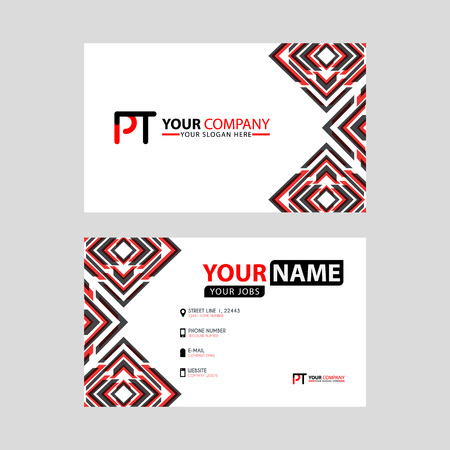 Modern business card templates, with PT logo Letter and horizontal design and red and black colors. Logó