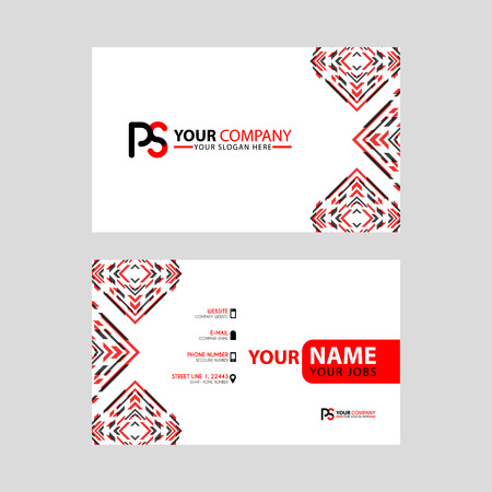 Modern business card templates, with PS logo Letter and horizontal design and red and black colors. Illusztráció