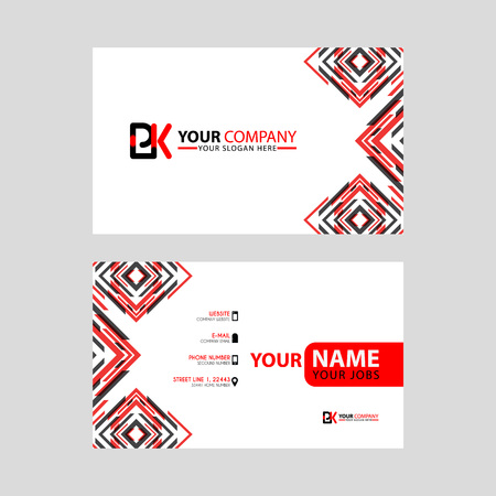 Modern business card templates, with PK logo Letter and horizontal design and red and black colors.