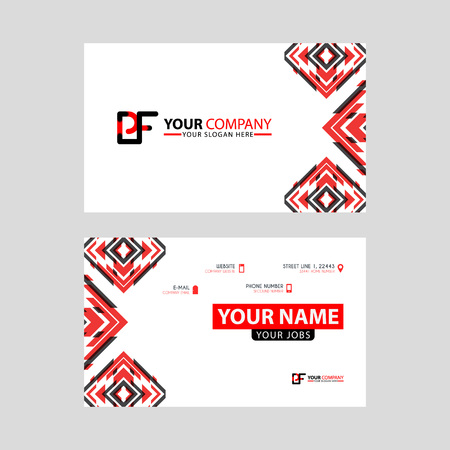Modern business card templates, with PF logo Letter and horizontal design and red and black colors.