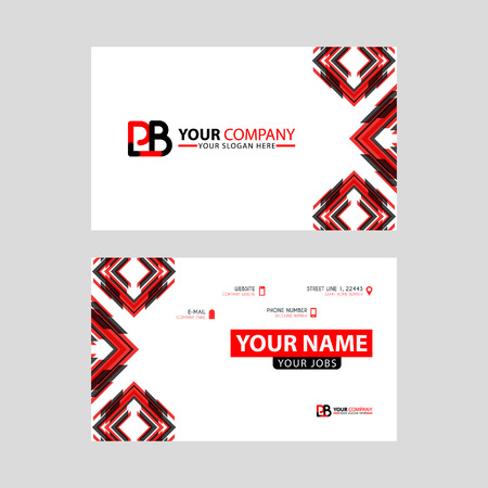 Modern business card templates, with PB logo Letter and horizontal design and red and black colors.