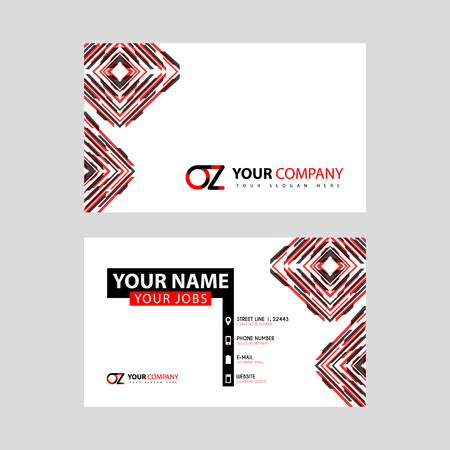 Letter OZ logo in black which is included in a name card or simple business card with a horizontal template.