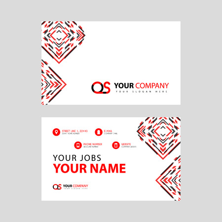 Letter OS logo in black which is included in a name card or simple business card with a horizontal template.