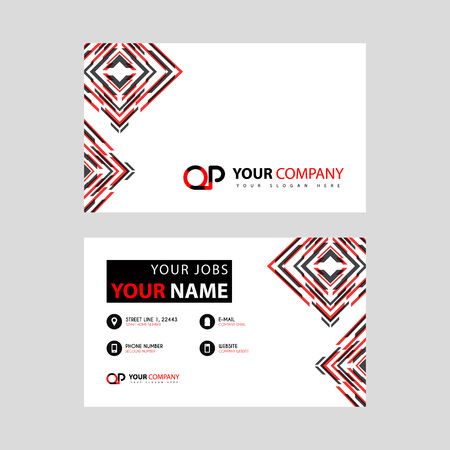 Letter OP logo in black which is included in a name card or simple business card with a horizontal template. Ilustração