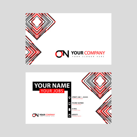 Letter ON logo in black which is included in a name card or simple business card with a horizontal template. Ilustração
