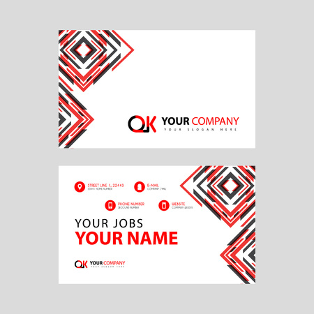 Letter OK logo in black which is included in a name card or simple business card with a horizontal template. Illusztráció