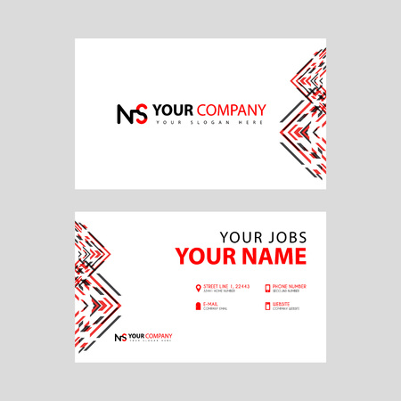 Business card template in black and red. with a flat and horizontal design plus the NS logo Letter on the back.