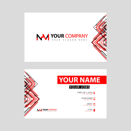 Business card template in black and red. with a flat and horizontal design plus the NM logo Letter on the back.