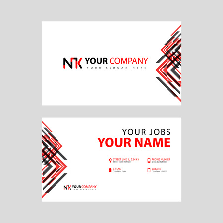 Business card template in black and red. with a flat and horizontal design plus the NK logo Letter on the back. Illusztráció