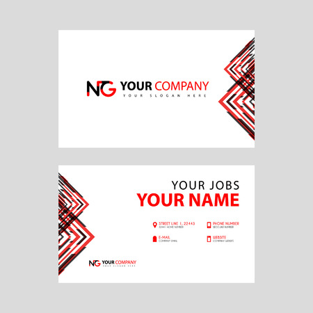Business card template in black and red. with a flat and horizontal design plus the NG logo Letter on the back.