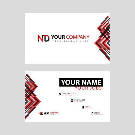Business card template in black and red. with a flat and horizontal design plus the ND logo Letter on the back.
