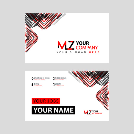 the MZ logo letter with box decoration on the edge, and a bonus business card with a modern and horizontal layout. Logó