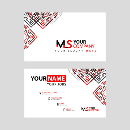 the MS logo letter with box decoration on the edge, and a bonus business card with a modern and horizontal layout. Illusztráció