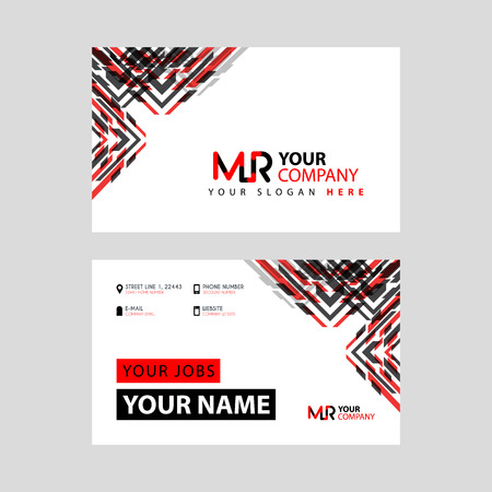 the MR logo letter with box decoration on the edge, and a bonus business card with a modern and horizontal layout.