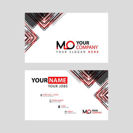 the MO logo letter with box decoration on the edge, and a bonus business card with a modern and horizontal layout.