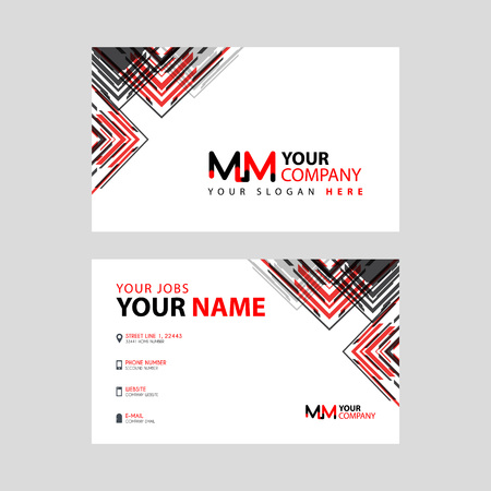 the MM logo letter with box decoration on the edge, and a bonus business card with a modern and horizontal layout.