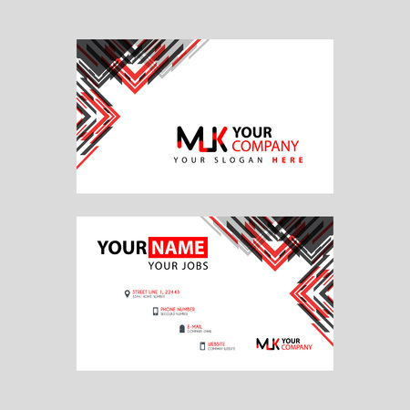 the MK logo letter with box decoration on the edge, and a bonus business card with a modern and horizontal layout.