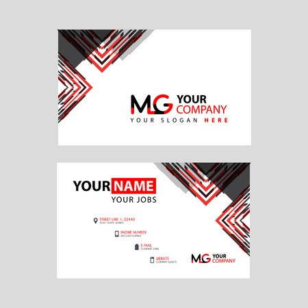 the MG logo letter with box decoration on the edge, and a bonus business card with a modern and horizontal layout. Logo