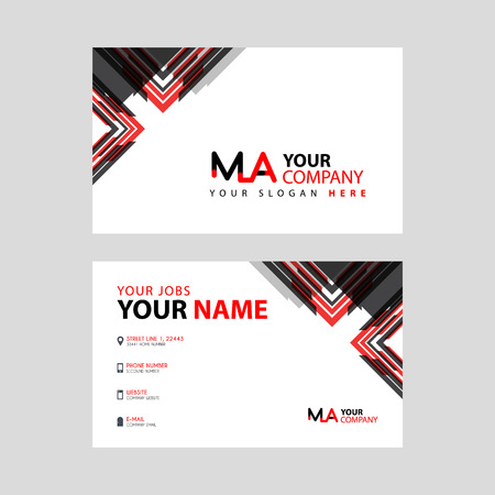 the MA logo letter with box decoration on the edge, and a bonus business card with a modern and horizontal layout.