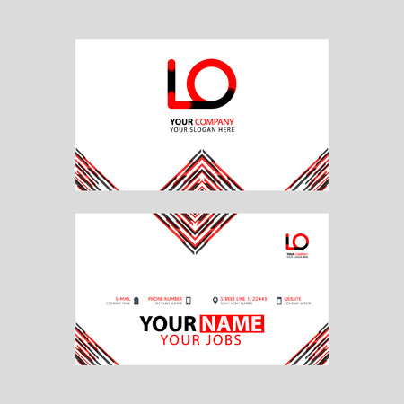 Horizontal name card with LO logo Letter and simple red black and triangular decoration on the edge.