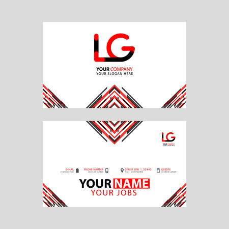 Horizontal name card with LG logo Letter and simple red black and triangular decoration on the edge. Illusztráció