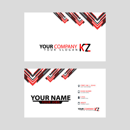 The new simple business card is red black with the KZ logo Letter bonus and horizontal modern clean template vector design.