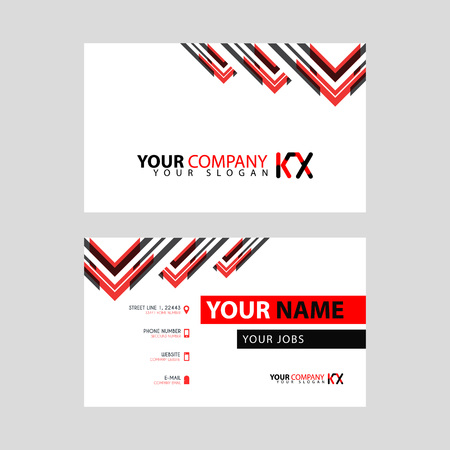 The new simple business card is red black with the KX logo Letter bonus and horizontal modern clean template vector design. Stock fotó - 106310057