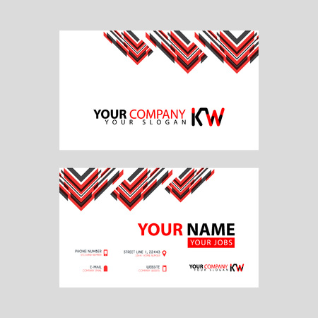 The new simple business card is red black with the KW logo Letter bonus and horizontal modern clean template vector design.
