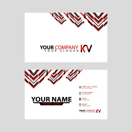 The new simple business card is red black with the KV logo Letter bonus and horizontal modern clean template vector design.