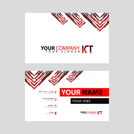 The new simple business card is red black with the KT logo Letter bonus and horizontal modern clean template vector design. Stock fotó - 106310061