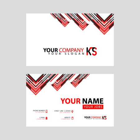 The new simple business card is red black with the KS logo Letter bonus and horizontal modern clean template vector design.