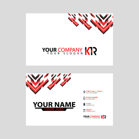 The new simple business card is red black with the KR logo Letter bonus and horizontal modern clean template vector design. Illusztráció