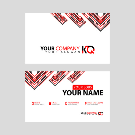 The new simple business card is red black with the KQ logo Letter bonus and horizontal modern clean template vector design. Illusztráció