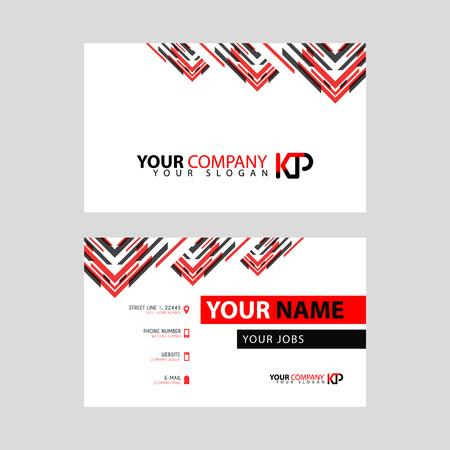 The new simple business card is red black with the KP logo Letter bonus and horizontal modern clean template vector design.