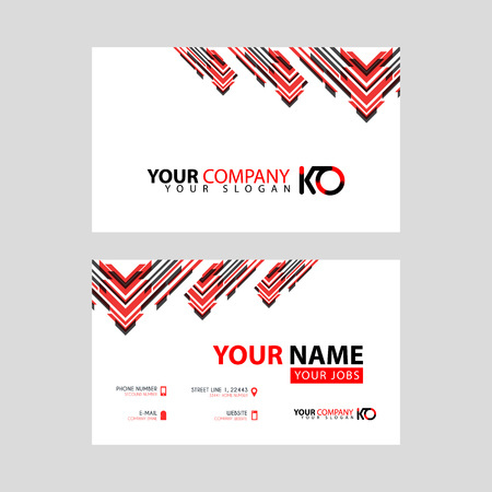 The new simple business card is red black with the KO logo Letter bonus and horizontal modern clean template vector design.
