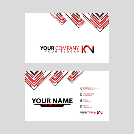 The new simple business card is red black with the KN logo Letter bonus and horizontal modern clean template vector design. Illusztráció