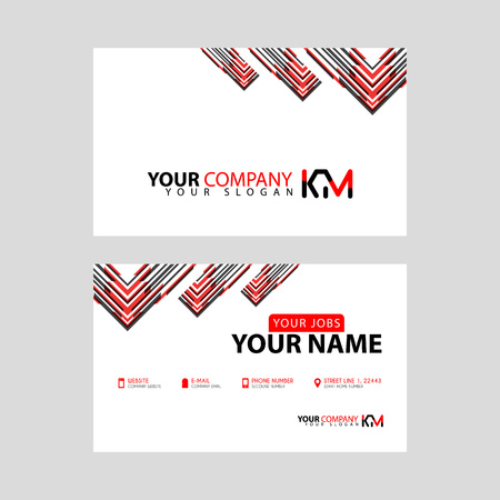 The new simple business card is red black with the KM logo Letter bonus and horizontal modern clean template vector design.
