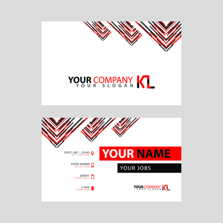 The new simple business card is red black with the KL logo Letter bonus and horizontal modern clean template vector design.