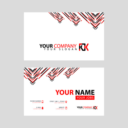 The new simple business card is red black with the KK logo Letter bonus and horizontal modern clean template vector design.