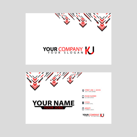 The new simple business card is red black with the KJ logo Letter bonus and horizontal modern clean template vector design.