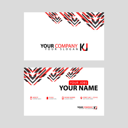 The new simple business card is red black with the KI logo Letter bonus and horizontal modern clean template vector design.