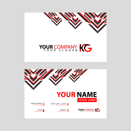 The new simple business card is red black with the KG logo Letter bonus and horizontal modern clean template vector design.