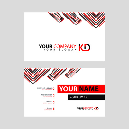 The new simple business card is red black with the KD logo Letter bonus and horizontal modern clean template vector design.