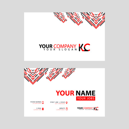 The new simple business card is red black with the KC logo Letter bonus and horizontal modern clean template vector design.