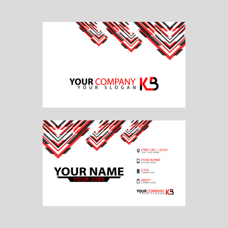 The new simple business card is red black with the KB logo Letter bonus and horizontal modern clean template vector design.