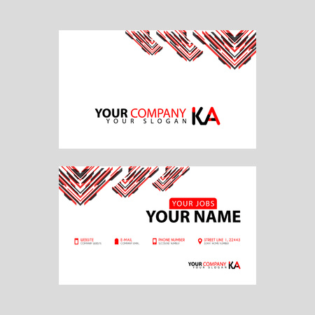 The new simple business card is red black with the KA logo Letter bonus and horizontal modern clean template vector design.