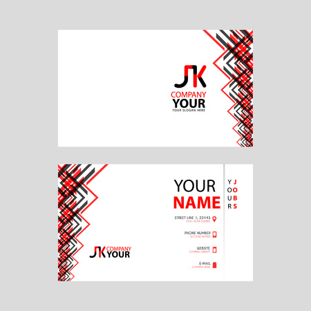 The JK logo on the red black business card with a modern design is horizontal and clean. and transparent decoration on the edges.
